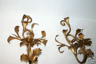 Pair Old Gilt Wrought Iron 1 Light Candle Holders 5