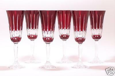 Champagne Flutes Ruby Red Crystal