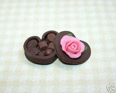 Miniature Chocolate Candy Heart  Rose Top  Dollhouse Valentines Day 1 12