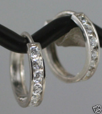 TINY 8mm Small Solid 14K White Gold CZ Huggies Hoop Earrings Cartilage Children
